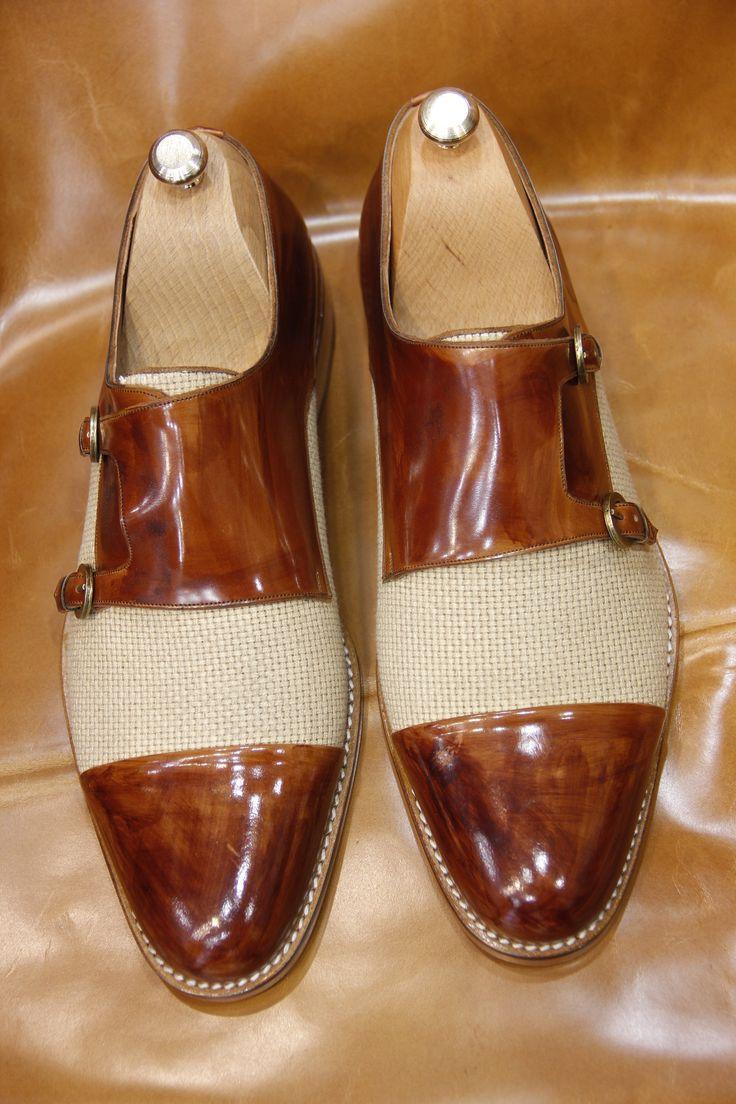 Handmade Brown Linen Monkstrap Men Shoes | Ustabas Shoes