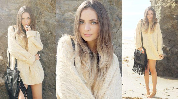 Bohemian Voyage – StyleGodis Photoshoot featuring vintage and new clothing in a bohemian, free-spirited setting: the Malibu rocks Chunky Oversized Sweater