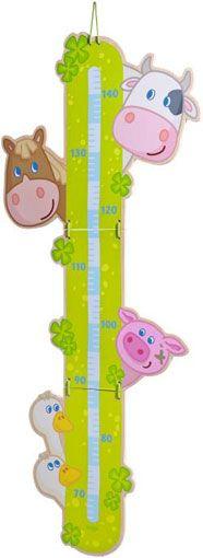 HABA Groeimeetlat Boerderij Kinderkamer - De boerderijdieren houden in de gaten hoeveel centimeter de kinderen zijn gegroeid. Schaalverdeling van 70 tot 140 cm.   Materiaal: Multiplex  Afmetingen: H 91 x B 38cm