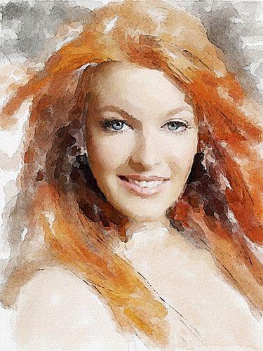redhead girl | Digital watercolor Original photo aycu29.webs… | Flickr