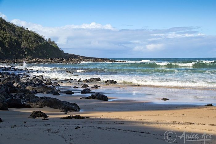 Rocks at north end - Shadowed rocks at northern end of Mollymook Beach