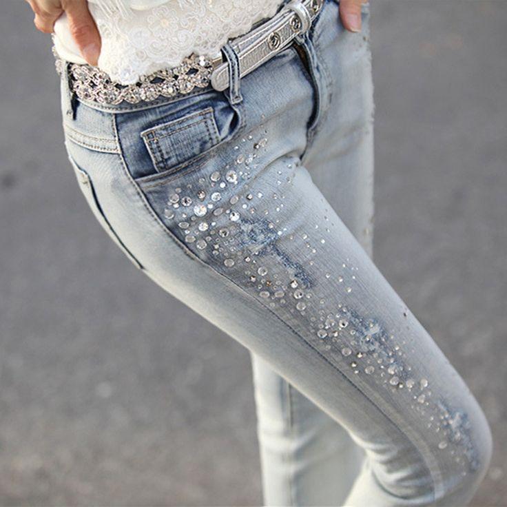 Diamond Jeans Casual Denim Pants Skinny Trousers Elastic Pencil Pants