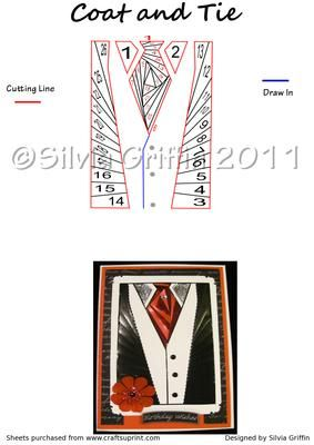 Coat and Tie Iris Folding Pattern on Craftsuprint designed by Silvia Griffin - Perfect for the Gentlemen in your live,easy lines to cut and lot's of color possibility. I hope you get much use and enjoyment out of this pattern. Thank you for looking and please check out all my other designs :) - Now available for download!