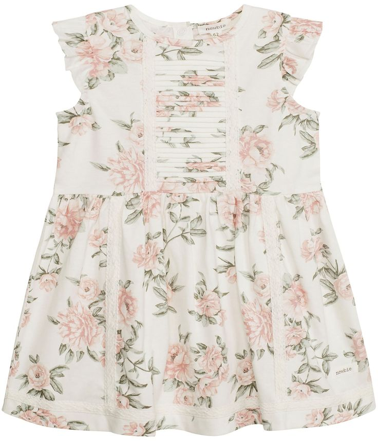 Storblommig klänning m spetsdetaljer