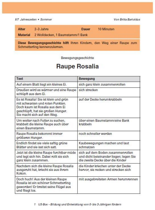 Eine Bewegungsgeschichte: Raupe Rosalia