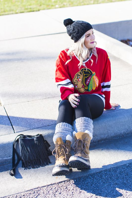 Perfect outfit for a hockey game black hawks