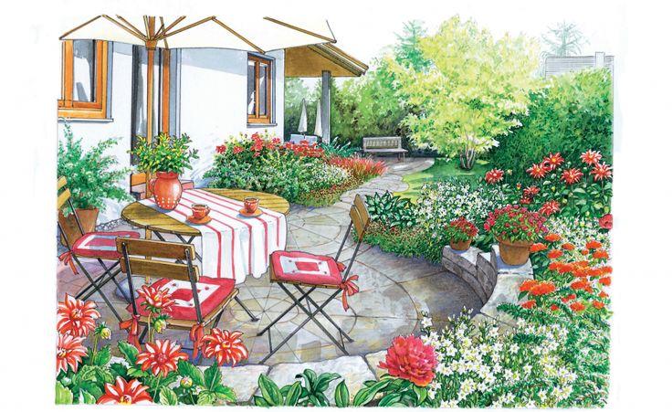 Ausgangsproblem: Der Garten ist zwar breit, aber nicht sehr tief. Er liegt Richtung Süden und wird von einer gemischten Hecke zur Straße hin eingerahmt. Der vordere Bereich wird für einen Sitzplatz und zwei Gartenliegen genutzt. Gefragt ist eine Idee, die die monotone Rasenfläche auflockert. Außerdem wünschen sich die Gartenbesitzer einen Baum vor der Terrasse an der hinteren Hausecke. Vorschlag 1: Eine Runde Sache in Rot und Weiß