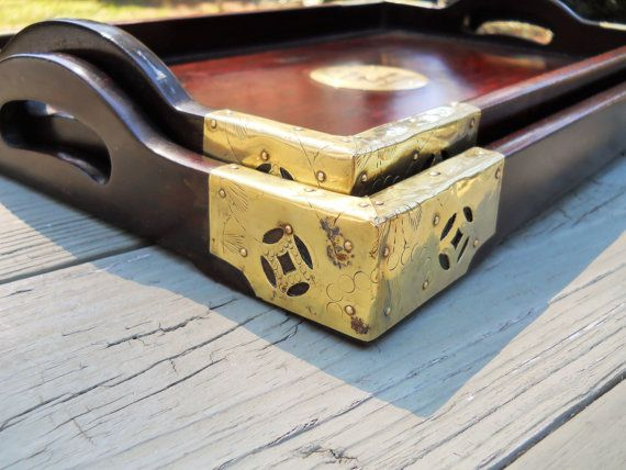 Two Rosewood and Brass Asian Serving Trays by UncleJimmysAttic