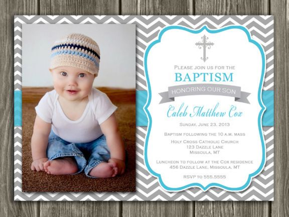 Printable Boy Baptism Photo Invitation Christening Blue And Gray Chevron Cross Free Thank You Card Included Become A L Invitations