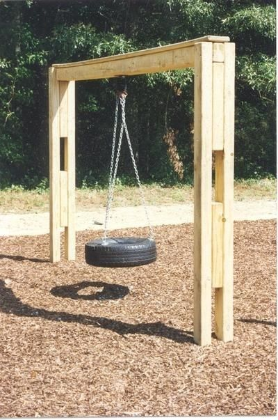 Build tire swing frame woodworking plans grandkids for Log porch swing plans