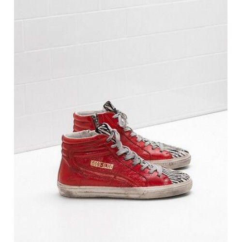 2017 Golden Goose Slide Chaussures Femme GGDB Sneakers Rouge Zebra