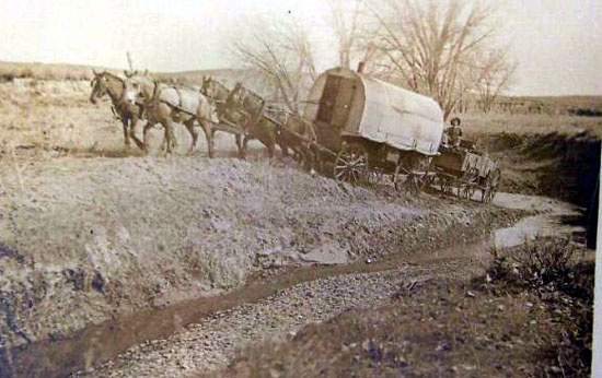 Chuck wagon fording the Powder River during cattle drive - 1800's.
