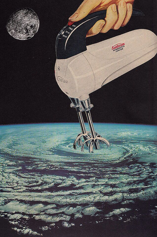 Joe Webb handmade montage, hurricane being stirred up from space, earth