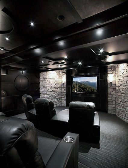 Black Ceiling With White Stone Walls Custom Home Theater Design Ideas Hometheateronabudget