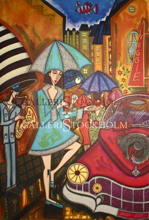 Angelica Wiik - Litografi - Kvällsregn. Beställ här! Klicka på bilden.