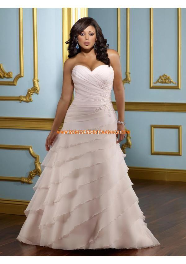 Robe de mariée grande taille organza appliques lacets