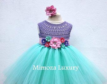 Vestido de venta la Sirenita, princesa Ariel Vestido de pequeña sirena vestido de tul top de ganchillo, ariel mano tejido top vestido, disney pri