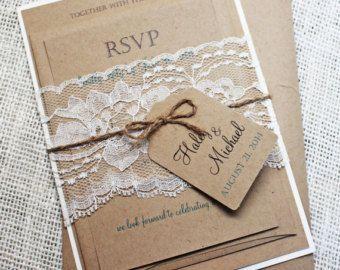 Rustic Vintage Kraft Wedding Invitation Lace by LoveofCreating