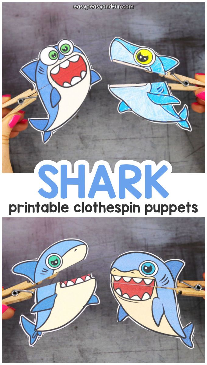Shark Clothespin Puppets Shark Week Crafts Shark Craft