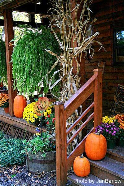 traditional cornstalks, mums, and pumpkins on porch