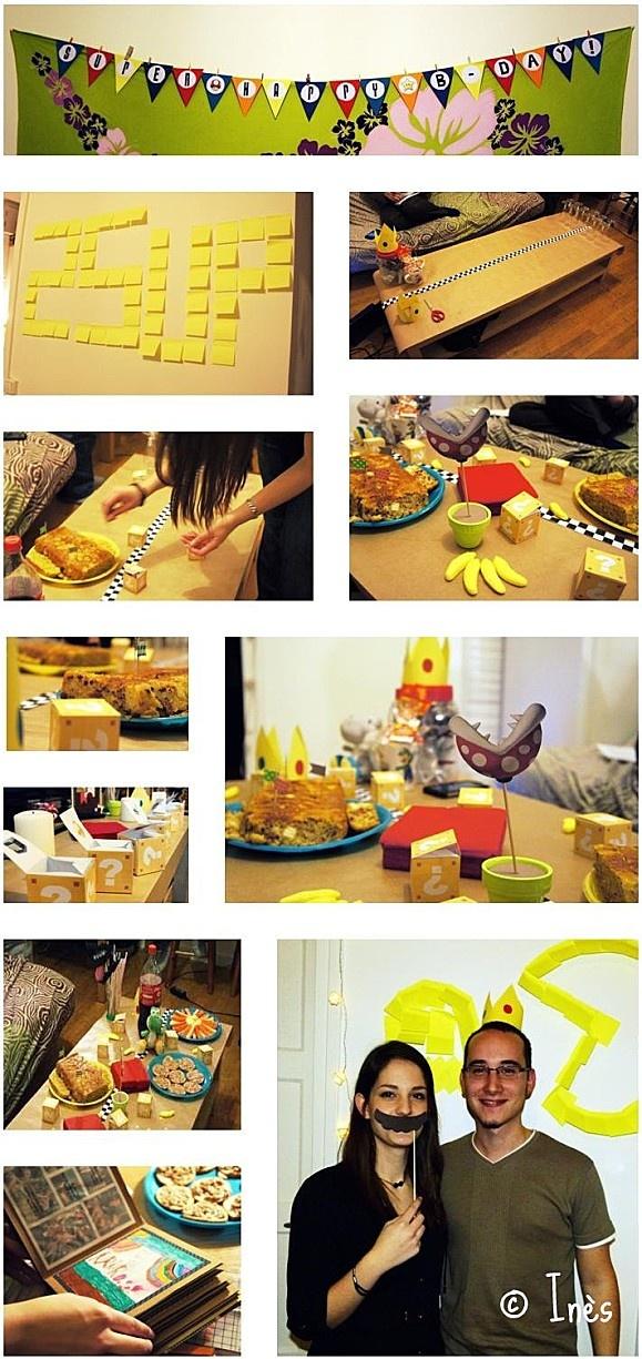 Mario Kart birthday party and DIY decorations. // Décorations de fête d'anniversaire Mario Kart. // https://www.facebook.com/lesmainsbaladeuses