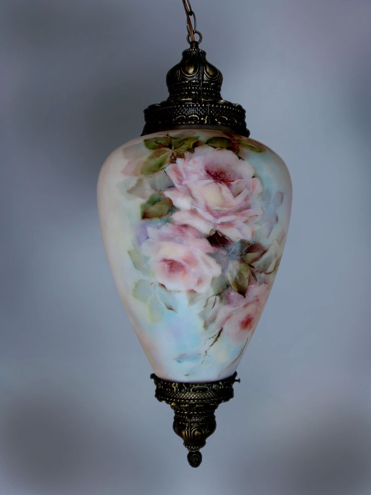 Rose lamp ... China paint