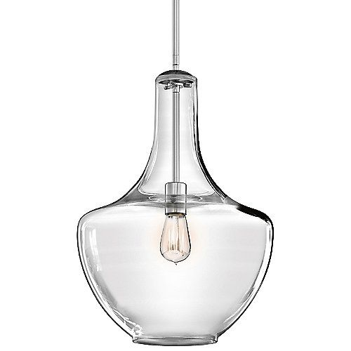 Blown decorative glass containers inspired the design of the highly decorative Kichler Everly Pendant. The wide curves of the Clear glass shade evoke the shape of a classic table lamp and provide a pleasingly soft outline around the exposed bulb within. For warm, vintage twinkle, use with a classic Edison incandescent bulb.