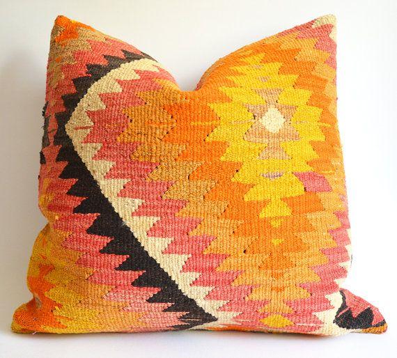 Sukan / Organic Shine Society Modern Bohemian Throw Pillow. Handwoven Vintage Tribal Turkish Orange Kilim Pillow Cover