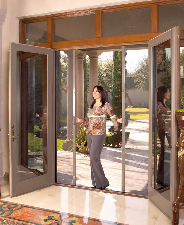 Best 25 french doors with screens ideas on pinterest for Double opening patio doors