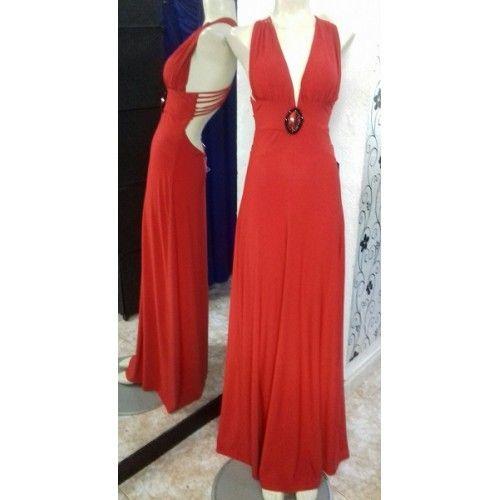 Vestido Fiesta Broche Rojo | Suen-Vestidos de fiesta