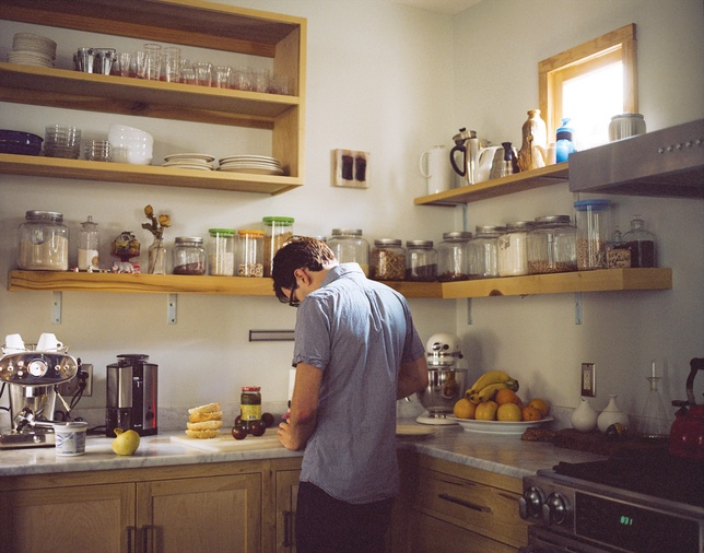 nissenboim rice residence interior portrait kitchen: Kitchens Shelves, Dreams Kitchens, Open Shelves, Open Cabinets, Dreams House, Wood Shelves, Mason Jars, Open Kitchens, Open Shelf Kitchens