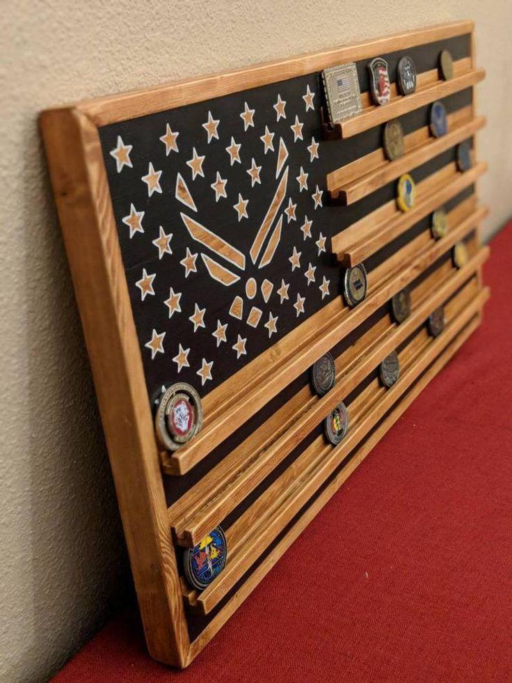 "16"" x 30"" Military flag coin rack, Air Force Flag coin"