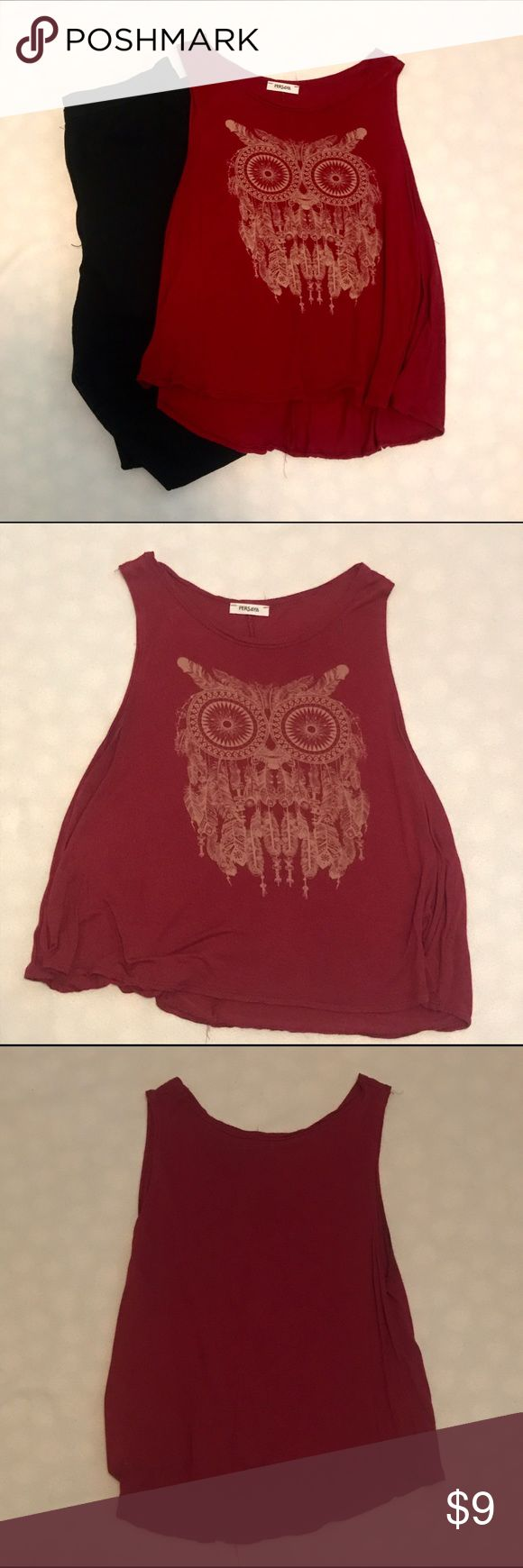 Owl feather top Super cute owl top. One of my favorites. Has a stretchy material. The shirt is maroon persaya Tops