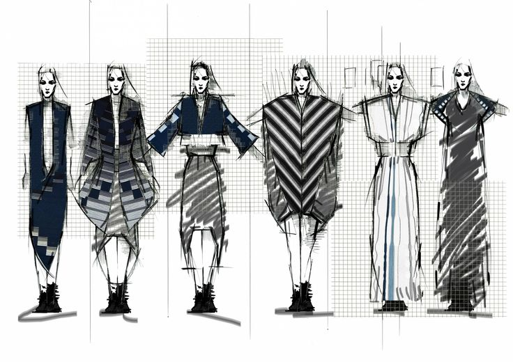 Fashion Sketchbook - graphic dress sketches; fashion drawings; fashion portfolio // Edward Fletcher