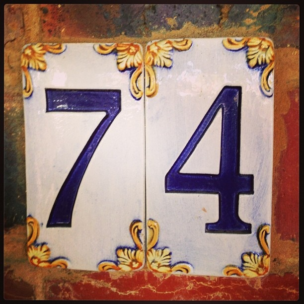 fancy tiled house numbers purchased from our trip to Lucca, Italia.