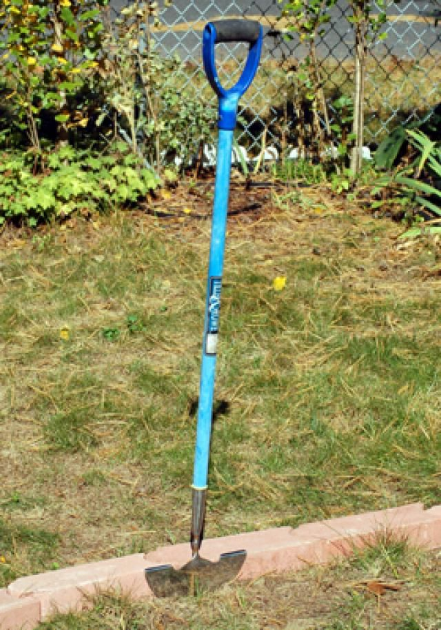 Pave the Way to Easier Mowing With a Mowing Strip: Begin Excavating Mower Strip With Garden Spade, Lawn Edger