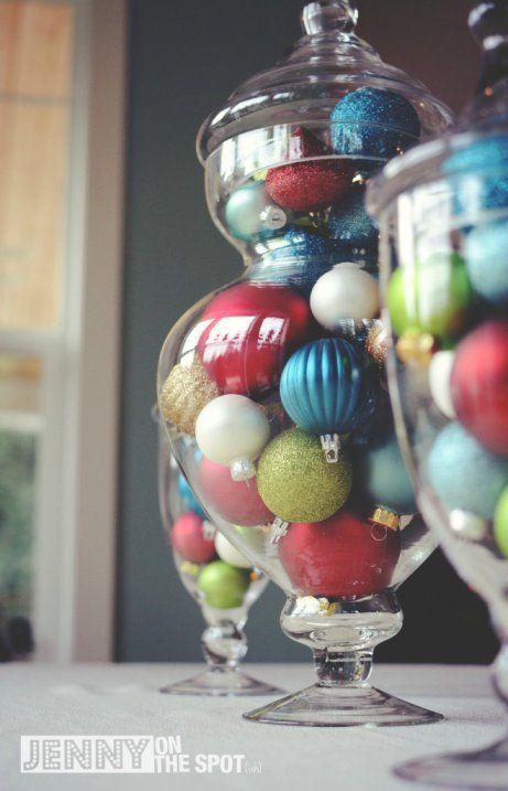 Colored ornaments in glass jars by @Jenny On The Spot