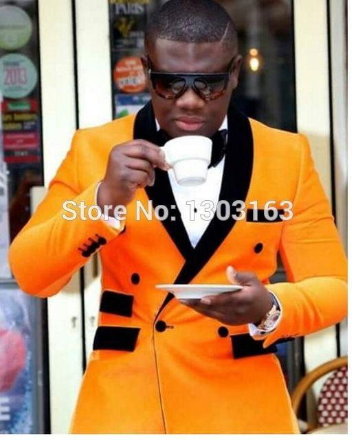 2017 Nouvelle Mode Jaune Veste Noir Pantalon À Double Boutonnage Hommes de Partie De Costumes De Mariage De Bal Smoking Garçons D'honneur Costumes Smokings de Marié
