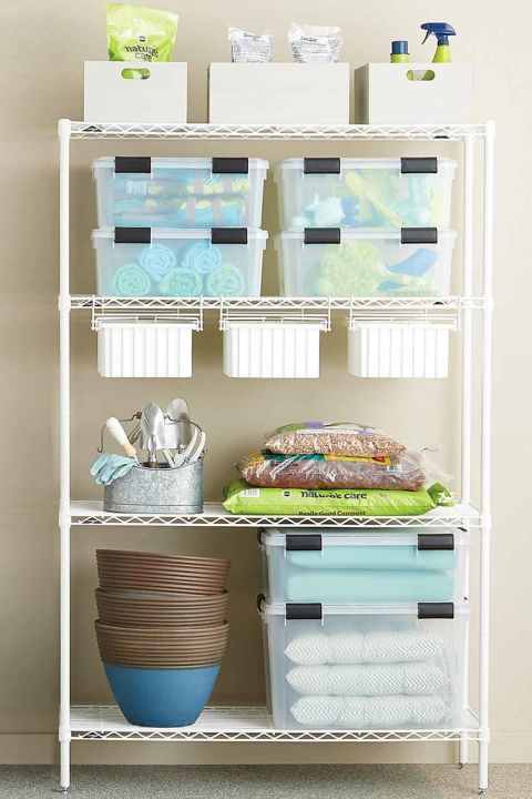 Customize your shelving to fit all the items you need to store with a piece like this one fromInterMetro. Containers with integrated handles are great for toting car-washing soap and wax to the driveway and back.