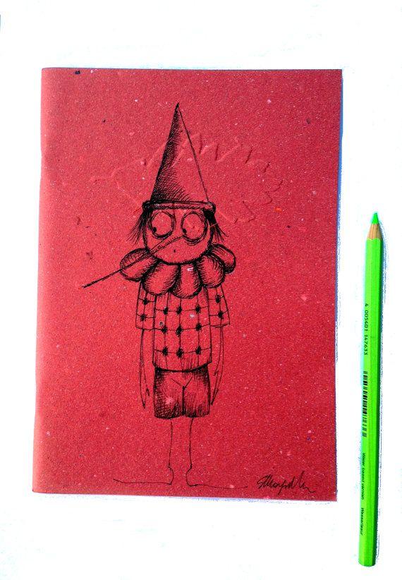 Pinocchioquaderno ecologico rosso disegnato pezzo di gufobardo, €15.00