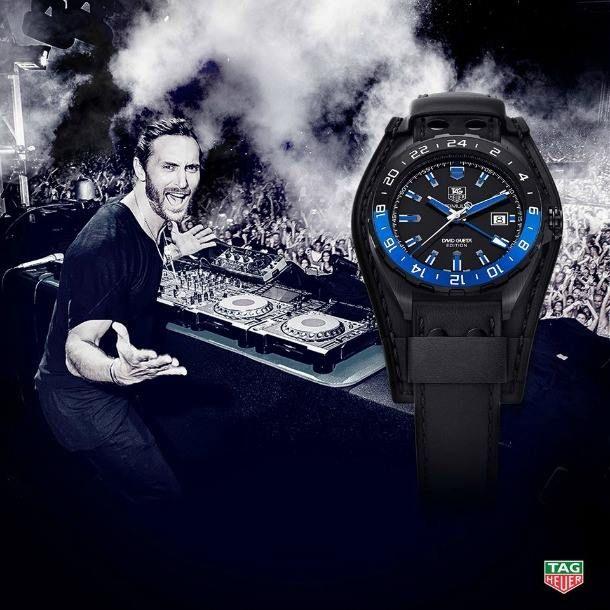 """#DavidGuetta es el nuevo embajador de la familia TAG HEUER y sus shows fueron la inspiración para crear el modelo """"Formula 1"""". El nuevo #reloj está diseñado con un bisel de aluminio azul y negro."""