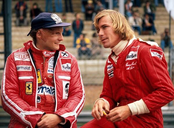 Formula 1 rivals and friends James Hunt and Niki Lauda, 1976