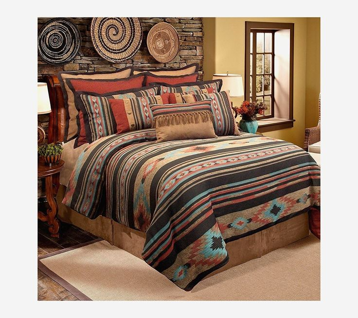 8 Piece Black Grey Southwest Comforter Queen Set Native
