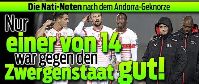Andorra - Schweiz 1-2 9-Okt-2016 WM-Quali Peinlich !! Die Nati besiegt Andorras Betonmischer nur mit 2:1, muss in der Schlussphase gar noch zittern. Aber die Schweizer Leader-Position in der WM-Quali Gruppe B bleibt zementiert.