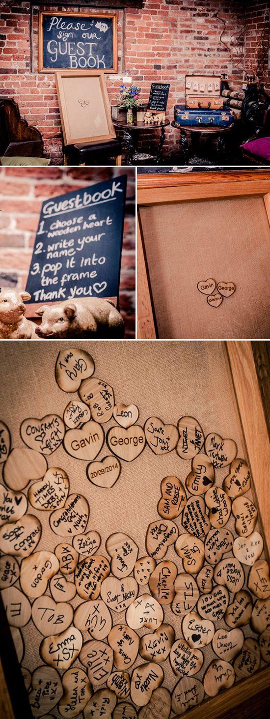 Hochzeit Gästebuch, wedding guest book, Hochzeitsbaum, Fingerabdruck-Baum, Herzen zum Beschriften in Rahmen, Vintage Gästebuch, Wünsche an das Brautpaar www.weddinghelfer.de