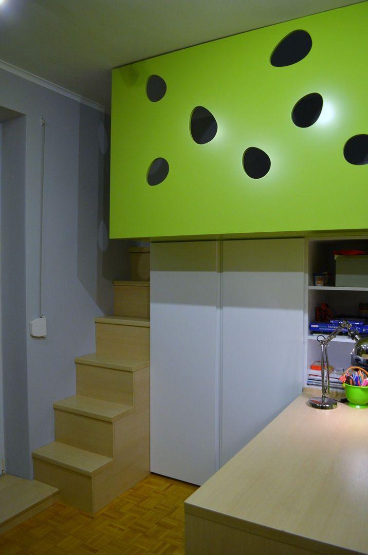 Meble na wymiar Katowice / Mysłowice  dinosaur , gadzi swiat , pokoj dzieciecy , pokoj dziecka , dinozaury , schody , stairs , childroom , baby room , green , wood , white