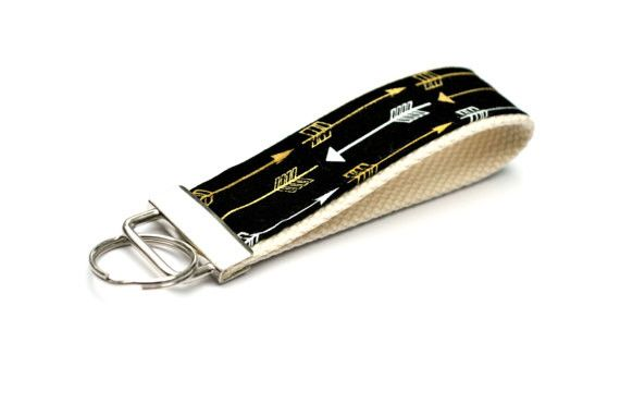 Keychain Wristlet - Black Gold White Arrows