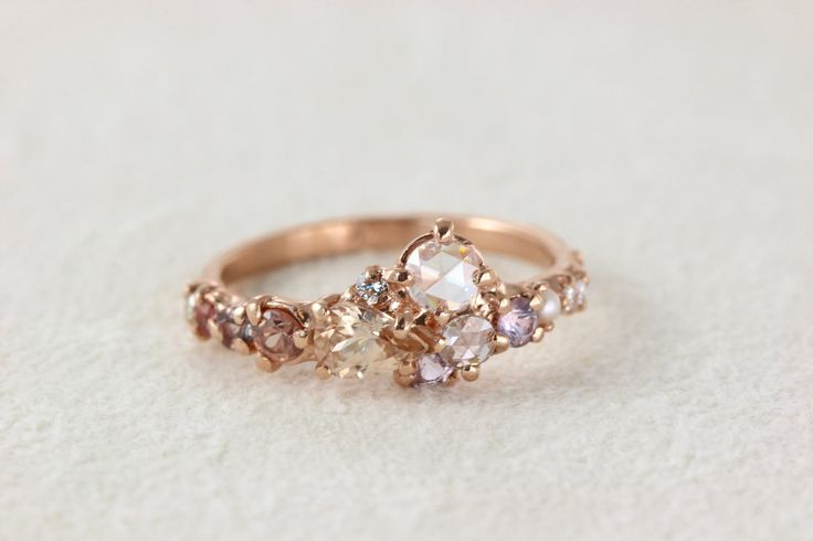 pink champagne cluster ring