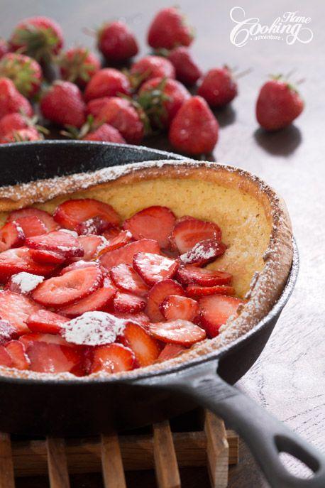 Strawberry Dutch Baby oven Pancake - summer solstice/midsummer breakfast tradition?