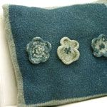 Knitted and Felted Flower Pillow